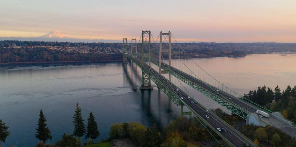 aerial view tacoma narrows bridges over puget soun W92NEXG 1