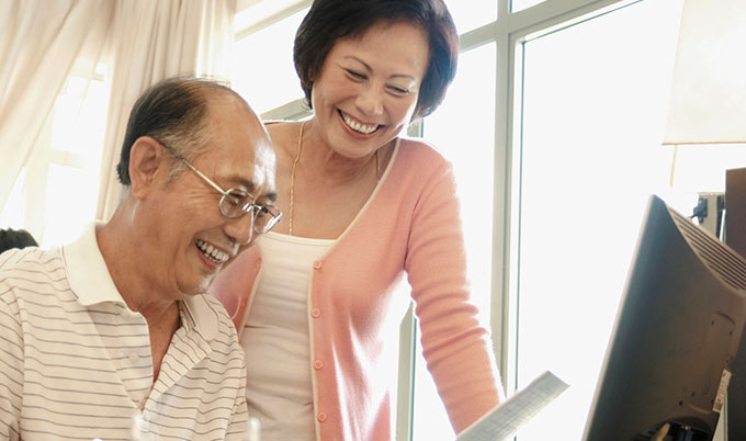 older couple in home