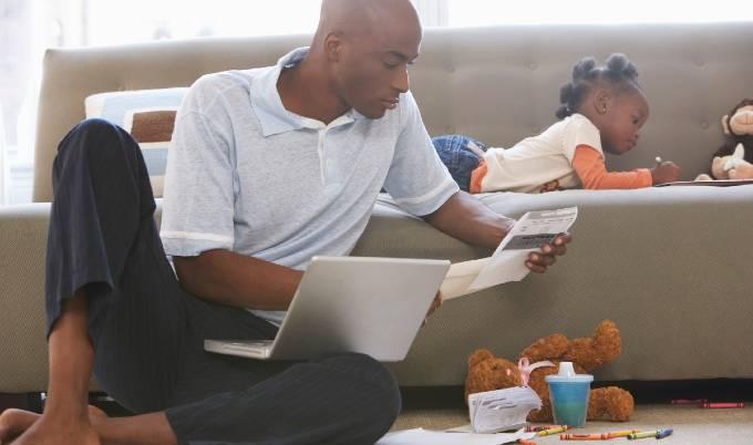 man reading daughter